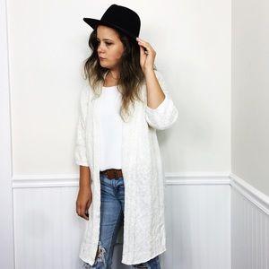 Gap NWT | Cream Open Front Linen Blend Knit Duster